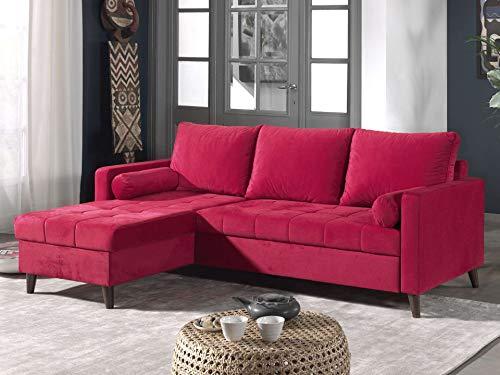 Canapé d'angle 4 places Rouge Velours Pas cher Contemporain