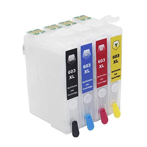 Cartucho de tinta recargable 603XL de repuesto para Epson 603 o 603XL, funciona con Expression Home XP-3100 XP-2105 XP-4100...