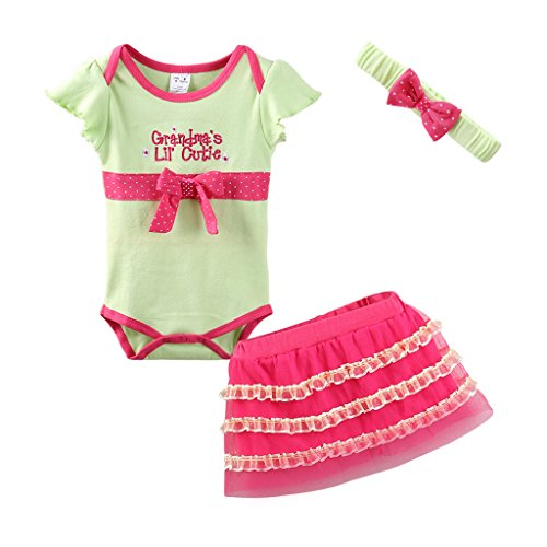 Mud Kingdom Cute Thanksgiving Baby Girl Outfits 12-18 Months Clothes Sets Grandma's Lil' Cutie 18M Green