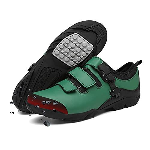 DSMGLRBGZ Zapatillas MTB, 37-48 Cabezal Anticolisión de TPU Transpirables Antideslizante Goma, para Hombre Mujer Zapatillas Niño Niña Carretera MTB,Verde,41 EU