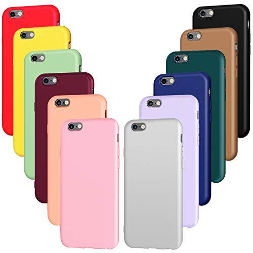 ivoler 12x Funda para iPhone SE 2020 / SE 2/8 / 7, Carcasa Silicona TPU Protector Flexible Funda (Negro, Gris, Azul, Verde Oscuro, Verde, Morado, Rosa, Rojo Vino, Rojo, Amarillo, Naranja, Marrón)