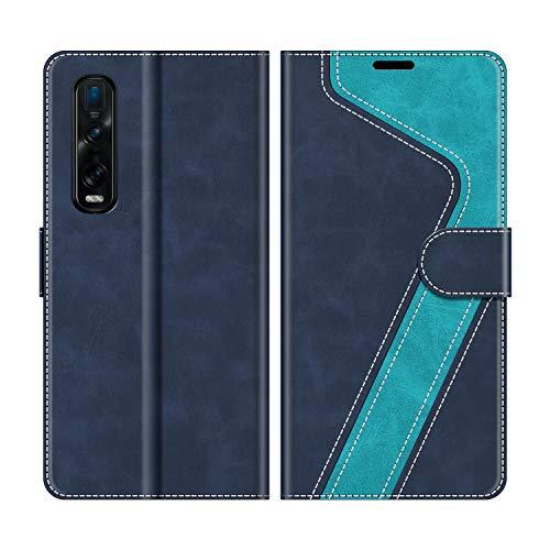 MOBESV Handyhülle für Oppo Find X2 Pro Hülle Leder, Oppo Find X2 Pro Klapphülle Handytasche Hülle für Oppo Find X2 Pro Handy Hüllen, Modisch Blau