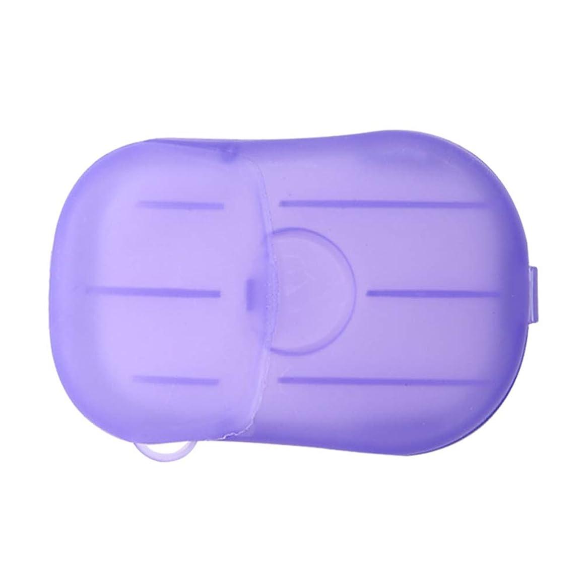 セットアップ尾クックLIOOBO 20ピース石鹸フレーク使い捨てクリーニングペーパーポータブルシャワー用品手洗い石鹸シーツ付きトラベルキャンプハイキング(パープル)