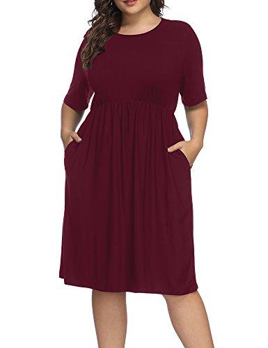 Allegrace Women Plus Size Half Sleeve Round Neck Cocktail Midi Dress Ruffle Party Dresses Wine Red 4X