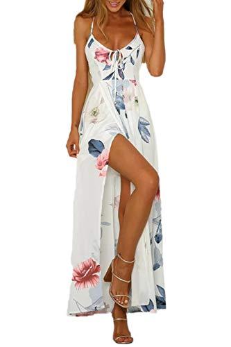 Vestidos Bohemios Verano Playa Floral Backless Swing Maxi Vestido De Fiesta Whitefloral M