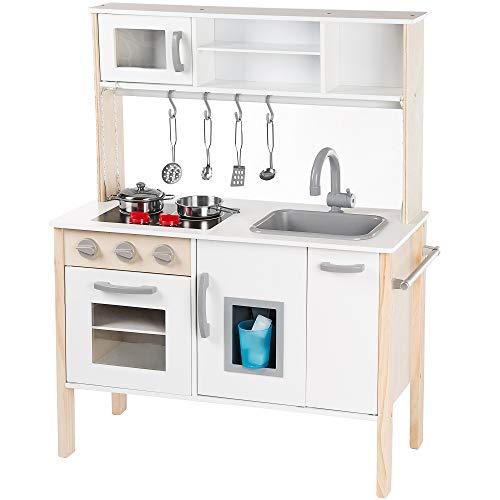 Kinderplay Cucina Giocattolo per Bambini - Cucina Legno per Bambini con Accessori da Cucina, Luce LED, Altezza 90 cm, Modello GS0055