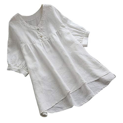 Reooly Arriba 2019, botón Mujer con Cuello en V de algodón Suelto y Lino sin Sombrero Casual