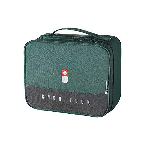 papasgix Boîte Médicale Boîte de Rangement en Tissu Sac de Rangement Portable Familial Boîte à Médicaments en Couches Multifonctionnelle Caisses de Rangement 25x20x13.5cm(Vert)