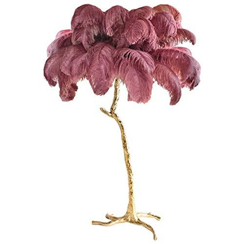 Lámpara de escritorio de plumas de avestruz nórdica, lámpara de pie, de cobre, moderna, iluminación interior, decoración para el hogar, luces de suelo de plumas (color del cuerpo: S 80 cm)