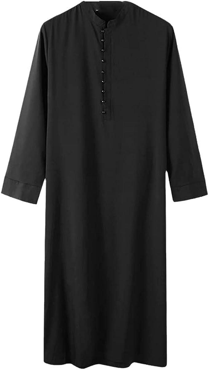 Muslim Men Jubba Thobe Long Sleeve Pure Color Breathable Robe Stand Collar Islamic Arabian Kaftan Abaya