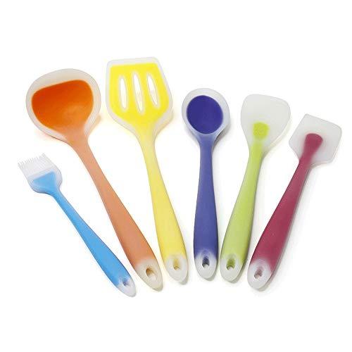 PN-Braes Utensilio de Cocina sin Costuras Set de Utensilios de Cocina de Silicona de 6 Piezas Juego de Cocina Multicolor Resistente al Calor Espátula de Goma Utensilios de Cocina Antiadherent