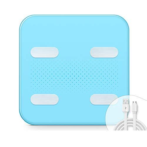 Smart Lichaamsvet Scales, High Precision Bluetooth Weegschaal Met Smartphone App, Weegschalen For Body Composition Analyzer, 150kg / 28st / 330lb (Color : Blue)
