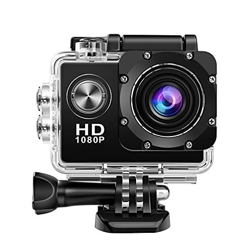 GONGYING Action Kamera 1080P 12MP Sportkamera Full HD 2,0 Zoll Action Cam 30m / 98ft Unterwasser wasserdichte Schnorchel Surf Kamera mit Montagezubehör Kit (A, 59.4x41.1x29.5mm)