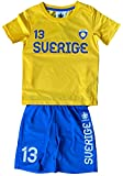 Coole-Fun-T-Shirts SCHWEDEN Trikotset Fußball Sweden Kinder Jungen + Mädchen Trikot + Hose gelb Gr.152