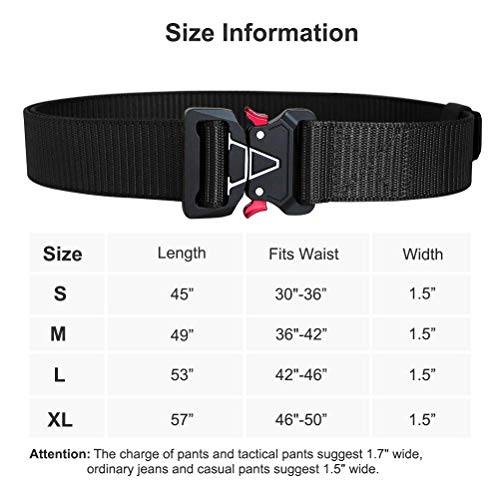 Fairwin Men's Military Tactical Web Belt, Nylon Canvas Webbing YKK Plastic/Metal Buckle Belt (Black,Waist 45)