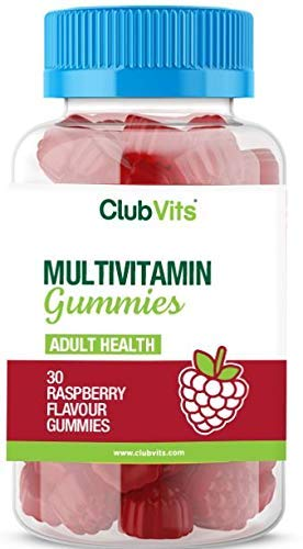 Chewable Multivitamin with 11 Vital Vitamins & Minerals - Vitamin D, Zinc, Vitamin C + B - General Health + Immune Support - Raspberry Flavour Adult Gummies - 1 Month Supply by Club Vits