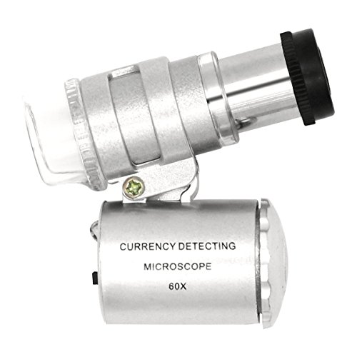 QiCheng&LYS Mini 60x Mikroskop Vergrößerung mit LED UV Taschen Schmuck Lupe Juwelier Lupe Falttasche Lupe (60x)