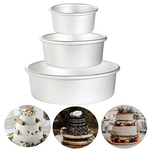 Aluminum Round Cake Pans, OAMCEG 3 Pcs (4'/6'/8') Professional Nonstick & Leakproof Round Baking Pans Layer Cake Pans Tin Set with Removable Bottom for Birthday Wedding Tier Cake