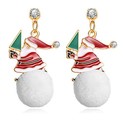 ETbotu Mode Ohrringe Frauen arbeiten Karikatur-Weihnachtsschneemann-Schneeball-Form-hängende hängende Ohrringe um