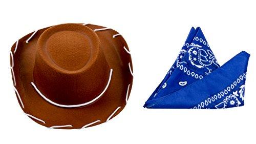 Blue Panda Cowboy-hoed - 2-delige kinder-western-hoed en blauwe paisley bandana, verjaardag, Halloween-kostuum toevoeging