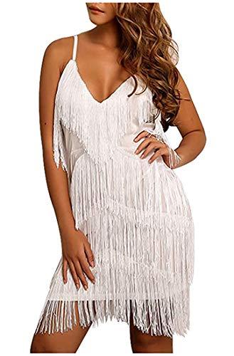 L'VOW Damen 20er Jahre Charleston Kleider Mit Fransen 1920 Great Gatsby Flapper Abendkleid Fasching Kostüm Kleid (Weiß, L)
