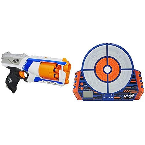 NERF N Strike Elite Strongarm Toy Blaster with Rotating Barrel, Slam Fire, and 6 Official Elite Darts for Kids, Teens, & Adults(Amazon Exclusive) & Elite Digital Target , Blue/Orange , Standard