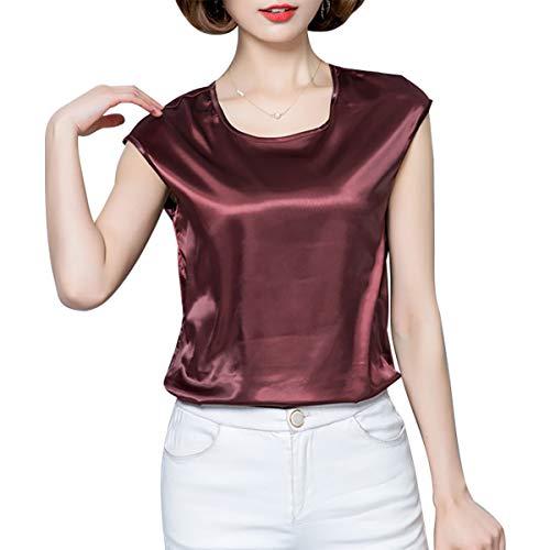 LKXHarleya Imitierte Seidenbluse Damen Kurzarm T-Shirt O Neck Freizeitbluse, Braun, XL