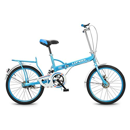 ZPEE Compact Commuter Bike with Rear Rack,Ultra-Light 20in Foldable Bike for Adults Students,Variable Speed Carbon Steel Foldable Bicycle