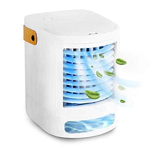 BRIHOME - Mini condizionatore d'aria portatile, ventola di raffreddamento da tavolo, carica USB con 3 velocità della ventola, 6 luci a LED, aria condizionata mobile per casa, ufficio, bianco