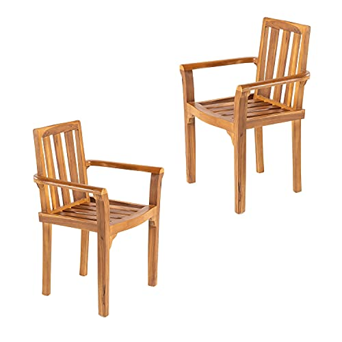 Edenjardi Pack 2 sillones para terraza apilables, Madera Teca Grado A, Tamaño: 61x50x88 cm, Tratamiento al Agua aplicado