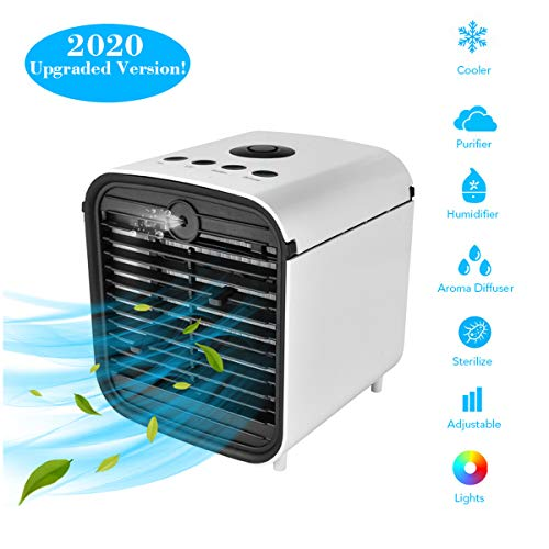 YangM Aircooler, luchtkoeler, mobiele airconditioning, 3 in 1, draagbare luchtbevochtiger en luchtreiniger, ventilator, lekproof 7 LED-verlichtingsmodi (wit)