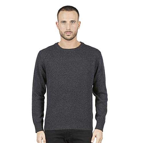 Pullovers heren trui met ronde hals in 100% Australian wol kleur grijze medium