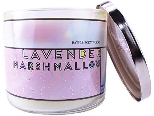 White Barn Bath & Body Works Lavender Marshmallow Scented Candle 3 Wick 14.5 OZ