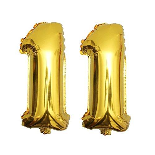 DekoRex® 11 Globo en Oro 80cm de Alto decoración cumpleaños para Aire número