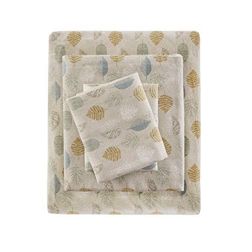 Comfort Classics Cozy Flannel 100% Cotton Sheet Set, Multi Leaves, Twin