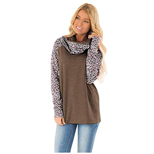 Hotopick dames casual lange mouwen sjaal kraag luipaard print panel dames schouders tuniek tops T-shirt lange mouwen casual solide blouses