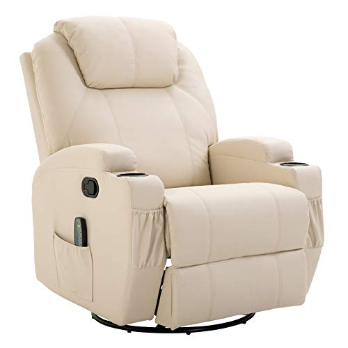 HomCom Faux Leather Heated Massage Recliner Chair with Remote - Cream White