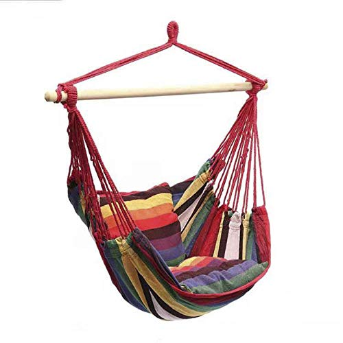 dehong XXL Cacoon Swing with Wooden Stick + Pillow,100x130cm (Load Capacity 200 kg) Red Boho Swing Chair for Indoor Outdoor Porch Patio Hanging Garden