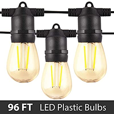 Amico 96FT LED Outdoor String Lights with LED Edison Vintage Plastic Bulbs and Weatherproof Strand - Decorative LED Café Patio Light, Bistro Lights