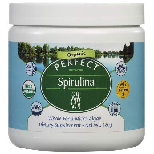 Perfect Supplements Spirulina Powder - Certified Raw, USDA Organic, Fairly-Traded Spirulina - 180g Whole Food Micro-Algae Powder