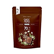 ChocZero 70% Dark Chocolate, Sample Pack. Sugar Free, Low Carb. No Sugar Alcohols, All Natural, Non-GMO (1 bag, 10 pieces)