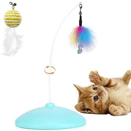Addyno Giochi Giocattoli Interattivi per Gatti, Intelligente Giocattolo Elettrico interattivo per Gatti Rotante a 360° (Blu)