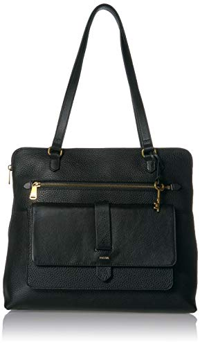 Fossil Women's Kinley Leather Shopper Tote Handbag, Black