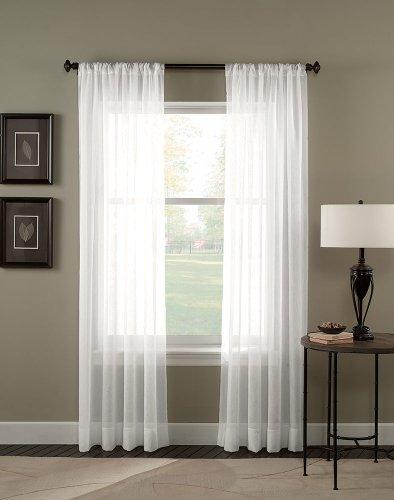 "Curtainworks Trinity Crinkle Voile Sheer Curtain Panel, 51 by 144"", Winter"