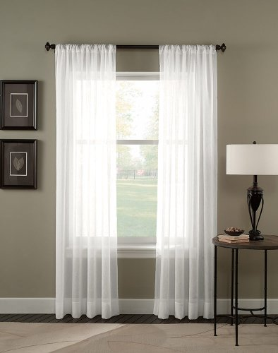 "Curtainworks 1Q80410CWI Trinity Crinkle Voile Sheer Curtain Panel, 51 by 120"", Winter"