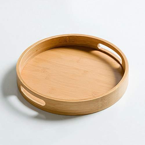 QTBH Charola de Servicio Bandeja de té de la Fruta del hogar de bambú de Madera for Hornear Pan Filete a la Torta de Pizza Rectangular Ronda Bandeja Decorativa (Size : L)