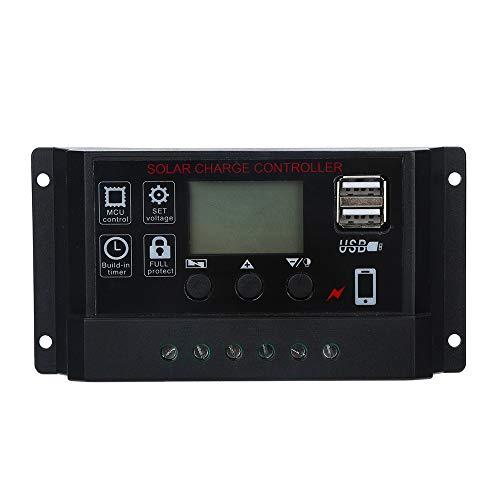 Javpoo Controlador de Carga del regulador del Panel Solar USB 20A 12V-24V con Cargador USB Dual