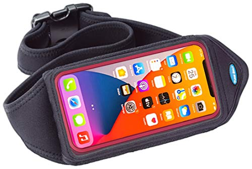 Tune Belt Running Waist Pack for iPhone 11/12 Pro Max, XS Max, Galaxy S10+ S20 Plus, S20 Ultra, Note 20, Water Resistant Workout Pouch fits Large Phones With OtterBox/Large Case [Black]