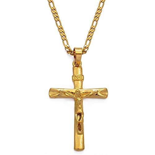 Nobrand Inri Cruz Collares Pendientes Cadena Mujeres Hombres, crucifijo Cristianismo Color Oro Jesús de Nazaret, Rey de los judíos
