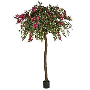 Silk Flower Arrangements 9' Silk Bougainvillea Flower Tree w/Pot -Fuchsia